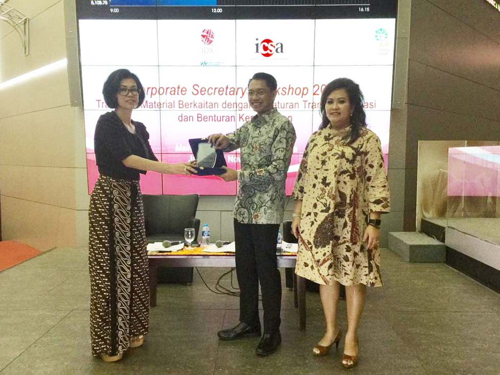 Speaker at the Workshop Corporate Secretary by Indonesia Corporate Secretary Association (ICSA) Collaborated with OJK and IDX. Our Partner, Genio Atyanto Talks about Affiliate Transactions